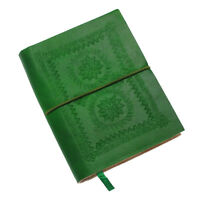Fair Trade Handmade Medium Emerald Green Embossed Leather Journal Notebook