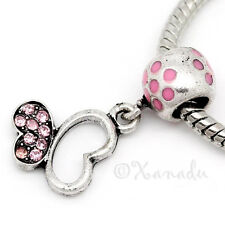 Pink Butterfly European Bead - Rhinestone Bead For European Charm Bracelets