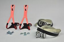 BRAND NEW BIKE PEDAL COLOR STEEL TOE CLIPS & LEATHER STRAPS SET- RED