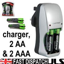 Aa O Aaa Ni-mh Batería Cargador Con 4 Baterías Libres
