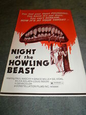NIGHT OF THE HOWLING BEAST(1976)PAUL NASCHY LOT OF 10 PRESSBOOKS