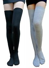 AM Landen Cotton Thigh Highs Socks Over Knee Socks(Black & Light Gray)