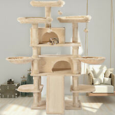 New listing 67 In Large Multi-Level Cat Tree Tower Play House Climber Hammock Perches Beige