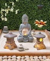 Serenity Solar Light Garden Round Square Pagoda Lantern Lotus Buddha Statue Zen