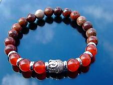 Buddha Carnelian/Poppy Jasper Natural Gemstone Bracelet 7-8'' Elasticated