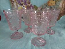 VINTAGE Inspired PINK Easter BUNNY Knobby Footed GOBLETS Drinking Glasses SET 2