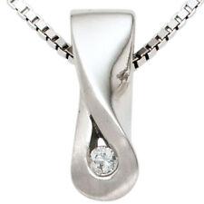 Unbehandelte Echtschmuck-Halsketten & -Anhänger aus Sterlingsilber Diamant