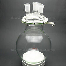 5000ml,Glass Reaction Vessel,5L,24/40,4-Neck,Lab Chemistry Reactor,W/Lid & Clamp