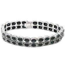 De Buman Sterling Silver 2-Row Natural Sapphire Tennis Box Clasp Bracelet, 7''