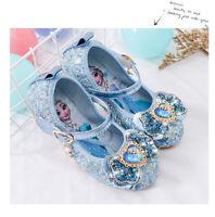 2020 Kids Girls Elsa Princess Fancy Up Party Acrylic bow-knot Sequins Elsa Shoes