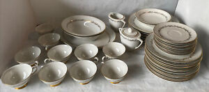 Arcadian First Love 24kt gold China set service 8 4pc Place set +serving pc 47pc