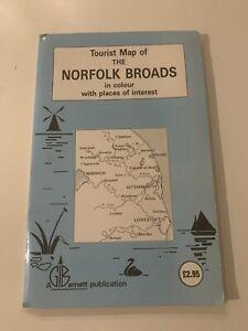 GI Barnett Tourist Map of the Norfolk Broads, Vintage - Rare