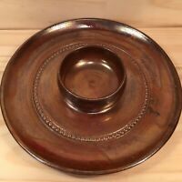 "BENDIGO POTTERY ""Brown"" Lovely Vintage Pottery Chip & Dip Platter Serving Plate"