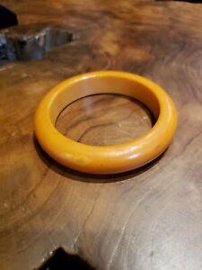 Vintage Jewelry Bakelite Bangle Bracelet Yellow Amber Orange Gorgeous Tested