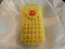 Cellphone Case Crocheted Yellow w/ flower button lp 3x5 inches for earbuds ipod