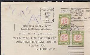 1955 Australia 3 x 1/-   Postage Due MLC FRONT ONLY Courtesy Slogan  REF: PD40