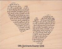 """mittens my sentiments Wood Mounted Rubber Stamp  2 1/2 x 3""""  Free Shipping"""