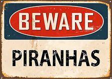 Attenzione Piranhas, SMALTO, STILE VINTAGE METAL SIGN,379