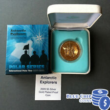 2009 $5 Int Polar Year Antarctic Explorers 1oz Gold Plated Silver Proof Coin
