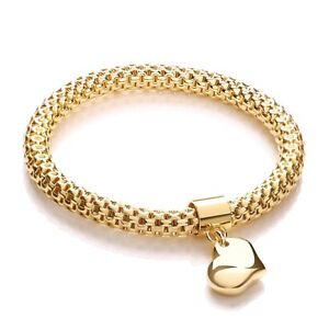 Yellow Gold Plated Mesh Bracelet Heart Tag Charm Bangle J JAZ