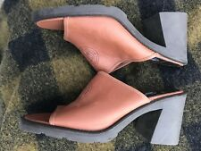 Designer Vintage DKNY NY 90s Brown Leather Block Heel Mule Shoes Women's Sz 8