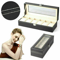 6 Grids Leather Watch Display Case Jewelry Collection 6 Slots Storage Holder Box