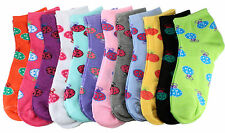 New Lot 12 Pairs Womens Ankle Socks Low Cut Multi Color Casual Size 9-11 LadyBug