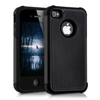 Hybrid Schutz Hülle für Apple iPhone 4 4S Schwarz Case Cover TPU Handy Outdoor