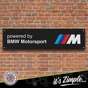 Powered by BMW Motorsport Black Banner Garage Workshop PVC Trackside Sign