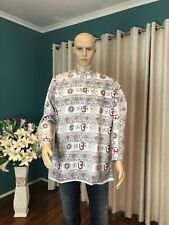 "38"" S Cotton Indian Casual Shirt Kurta Bollywood Mens Ethnic Om Top White A2"