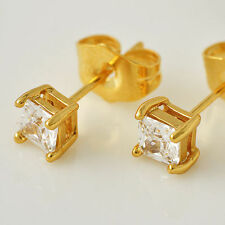 Womens Yellow Gold Filled Punk Square Cubic Zircon Stud Earrings Korean