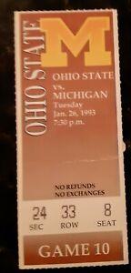 1993.1.26 Ohio State at Michigan ticket stub Fab Five Webber Rose Howard King