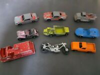 Lot of 9 RARE Vintage Tootsie Toys Truck Hot Rod Tanker Tow Truck Sports Car