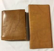 Vintage Wallet Check Book Holder Hand Crafted Genuine Leather 2 Piece set