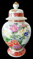 "SATSUMA Vase Beautiful Vintage Japanese Hand Painted Antique Urn w/ Lid 13"" Tall"