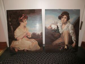 """BOY with RABBIT & Age of Innocence GIRL PORTRAIT PAINT BY NUMBERS--16"""" x 20"""" ea."""