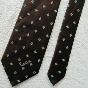 VINTAGE BROWN BLUE 3.25 INCH polyester necktie TIE by PIERRE CARDIN