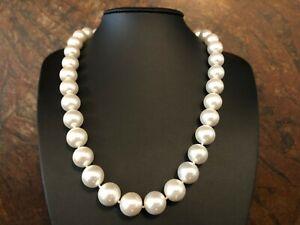 Muschelkernperlen Collier Kette Länge 55 cm ! Perlen WHITE ca  14 mm !