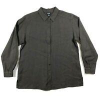 Eileen Fisher Womens M Linen Button Down Collared Shirt Oversized Brown L/S