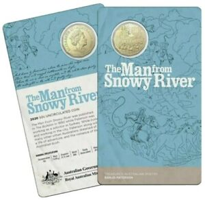 """2020 UNC Bronzed 50c Coin - Banjo Patterson """" Man From Snowy River """""""