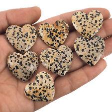 7 Pcs Natural Dalmation Jasper Heart Loose Cabochon Gemstones Lot 368.25 Cts