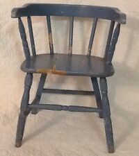 Primative Childs Chair Colonial Blue Chippy Paint Shabby Antique Retro Vintage