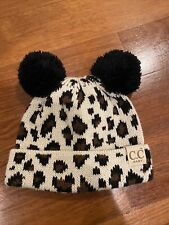 Cc Beanie Baby Girl Leopard Print Hat With Double Pom Pom Accents New
