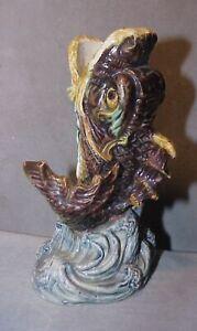 "Vintage Majolica Glazed LEAPING FISH Pottery  ""Spill Vase"""