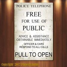 "Doctor Who Tardis Police Box Novelty Aluminum Sign, TARDIS, new 8"" x 12"""