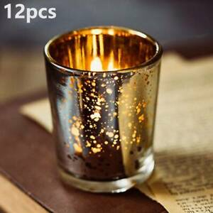 12X Glass Tea Light Candle Holders Silver Mercury Set Votive Home Party Decor