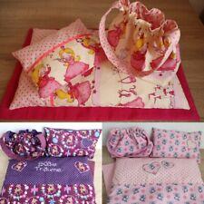 Puppenbettwäsche 3 - 4 teilig, Decke-Kissen-Matratze-Tasche, gefüttert, bestickt
