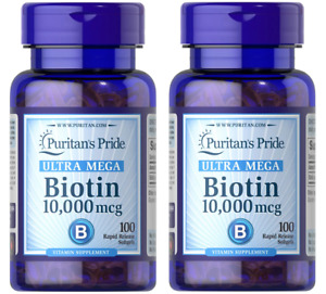 Puritan's Pride Biotin 10,000mcg 100 Softgels 2-PACK Mother's Day Promo