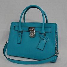 NWT! Michael Kors East West Hamilton Saffiano Leather Satchel Bag in Tile Blue