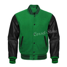 Men's Genuine Leather Sleeves And Wool Letterman Baseball Jacket sizes 2XS~8XL
